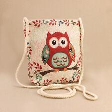 Tapestry Owl Cream 23x22cm Shoulder Bag Mini Tote Gusset Zip-Up Long Rope Strap