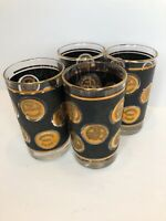 Vintage Set 4 Libbey Glass Co Old World Gold Coins Barware Glasses Mid Century