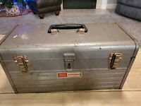 Vintage Sears Craftsman 6500 Mechanics Metal Tool Box Case, 18x7x7.5 w/ Red Tray