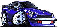 Datsun 240z 260z 280z Cartoon car t-shirt - Blue Z-Car image on white shirt