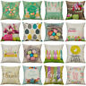 JU_ Happy Easter Egg Rabbit Flower Pillow Case Cushion Cover Sofa Bed Decor My
