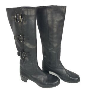 Stuart Weitzman Ludlow Buckle Tall Black Leather Boots 8 Knee High