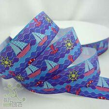 "5 Yards 7/8"" 22mm Blue Sailing boat Cartoon Grosgrain Ribbon Craft For Hair Bow"