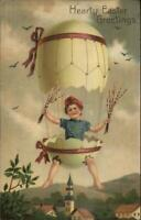 PFB Easter Fantasy - Children Egg Shell Hot Air Balloon c1910 Postcard #1