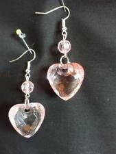 E406 SYNTHETIC PINK TRANSPARENT FACETED HEART & BEAD & SILVER PLATE EARWIRES NEW