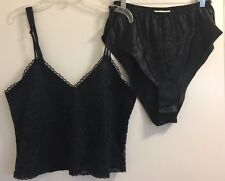 Victoria's Secret Black Satin Lace Front Camisole & Shorts Lingerie Set Medium