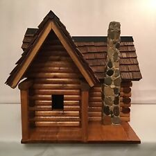 Large Log Cabin Style Wood Birdhouse Shingle Roof Handcrafted Stained Pre-Owned
