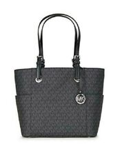 Michael Kors Jet Set Item MK Signature EW Tote Bag Black Purse Silver 38T8CTTT4B