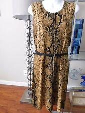 Calvin Klein Snake Python Animal prints tan brown belted Dress Sz L