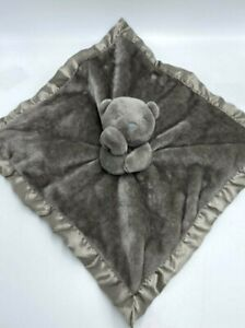 Carters Solid Gray Silver Teddy Bear Baby Security Blanket Satin Binding Back