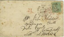 Great Britain, 1860 #28 on Cover Edingburg/New York One Shilling Cancel 31