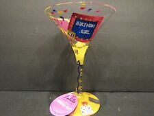 Lolita~BIRTHDAY GIRL~Martini Glass!~HAND PAINTED~Recipe on Bottom~Tag Attached