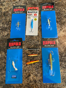 (8) Vintage Early And New Rapala ice jigs Fishing Lures Jigging Rap SAVE