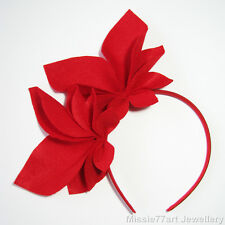 Red Fascinator Abigail Felt Side Crown Races Headpiece Horse Racing Headband