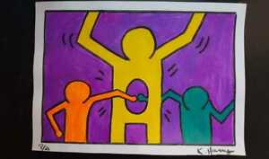 Oil on cardboard Painting / Keith Haring - Signed