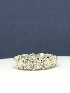14k Solid White Gold Natural Diamonds Eternity Band. Total Diamond Weight 5.14ct