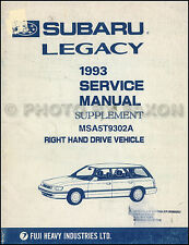 1993 Subaru Legacy Right-Hand Drive Shop Manual Supplement RHD Repair Service
