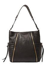 Kooba GK1122/08DL Liv Hobo Black Goat Leather Gold Grommet Studded Shoulder Bag