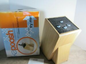 Crate & Barrel KAPOOSH Kitchen Knife Block-Wood/Bamboo Finish- NEW