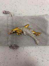 Swarovski Crystal Double Dolphin Gold Pin