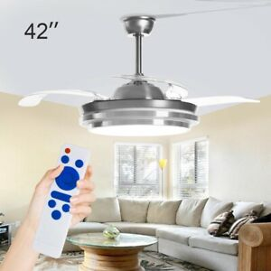 42'' Modern Ceiling Fan with Lighting LED Light Adjustable Wind Speed Remote