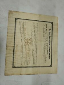Lake Erie Western Railroad Co Certificate Of Examination 1910 Conductor (jd)