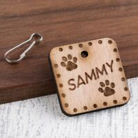 Personalised Wooden Pet ID Collar Cat Dog Tags 35mm Rectangle Paw Printed Tag