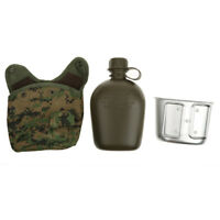 3 Piece Military Camping Water Bottle Canteen Mug Set & Jungle Digital Pouch