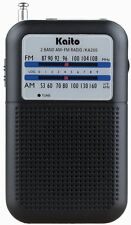 New Kaito KA200 AM FM Portable Pocket Radio Receiver Black