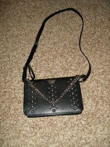 NEW Victoria's Secret Black Crossbody Shoulder Bag Chain Strap Purse Studded