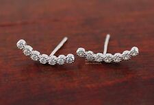 925 Sterling Silver CZ Curved Line Post Stud Earrings Climber Crawlers A1022