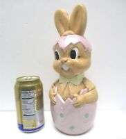"Vintage Easter Decor Handpainted Ceramic Bunny Hatching from Egg 11"" Tall 1970s"
