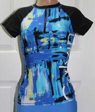 NEW Calvin Klein 1/2 Zip Logo Short Sleeve Rashguard size S Small Blue Black
