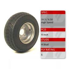 """TRIDENT 16.5x6.5-8 4 Stud 4"""" PCD 8"""" Trailer Spare Wheel Tyre Assembly 72M 6 Ply"""