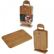 Set of 6 Bamboo Chopping Board With Stand Mats Wooden Cutting Dicing