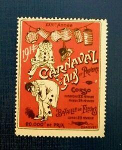 Carnaval d' Aix en Provence 1914 - Bataille de Fleurs - French Poster Stamp