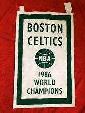 "1986 NBA BOSTON CELTICS WORLD CHAMPIONS LARGE BANNER 28 1/2"" x 18"""