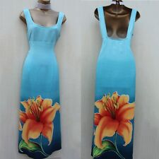 Vintage Karen Millen Blue Tulip Flower Print Long Maxi Cocktail Summer Dress 12