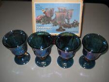 VTG: Iridescent Carnival Indiana Glass 9 oz Goblets Grape Pattern. ORIGINAL BOX!