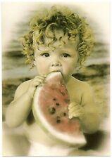 1998 KENDRA DEW POSTCARD- BOY WITH WATERMELON- CUTE!