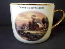 Thomas Kinkade fine china coffee mug Sunset Riverbend Farm Teleflora 2003 10 oz