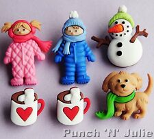 FUN IN THE SNOW - Snowman Dog Boy Girl Hot Chocolate Dress It Up Craft Buttons