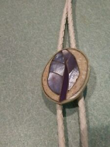 BOLO Tie with Mother of Pearl Inlaid Feather design Wedding All Occasion