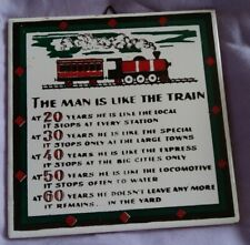 DECORATIVE TRAIN TILE DEPICTS A MAN AT 20 30 40 50 & 60 YEARS OLD - CERAMIC TILE