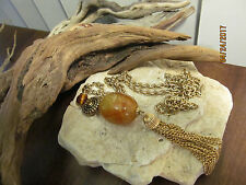 Vintage Gorgeous gold tone Hammered chain Celluloid Amber bead tassel necklace