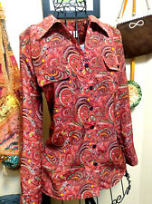 Red Paisley Button-Up Blouse~Kim Rogers Petite~PM~Christmas/Business Casual