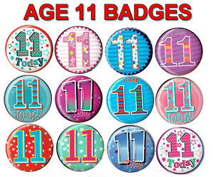 AGE 11 BIRTHDAY BADGE 12 DESIGNS for GIRL or BOY AGE 11