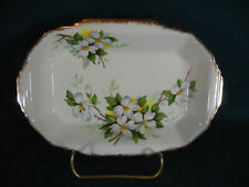 "Royal Albert White Dogwood Brushed Gold 7 1/4"" Rectangular Relish Dish"