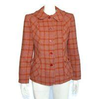 Pendleton Colorful 100% Wool Plaid Jacket Red Purple Green size 14 VTG 90s / 623