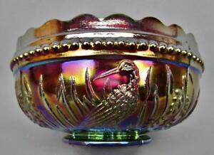 """B478 L. G. Wright STORK & RUSHES Amethyst Carnival Glass Round 4½"""" Berry Bowl"""